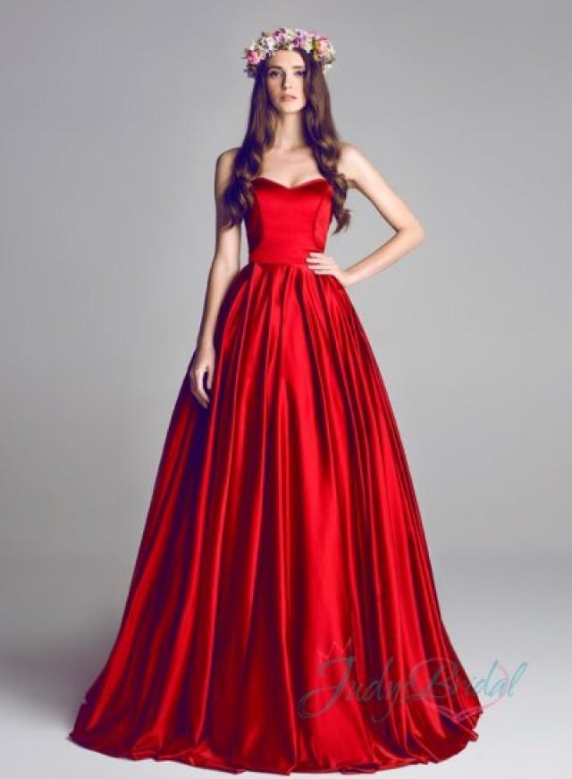 JOL287 Scarlet Red Color Simple Satin Wedding Bridal Dress ...
