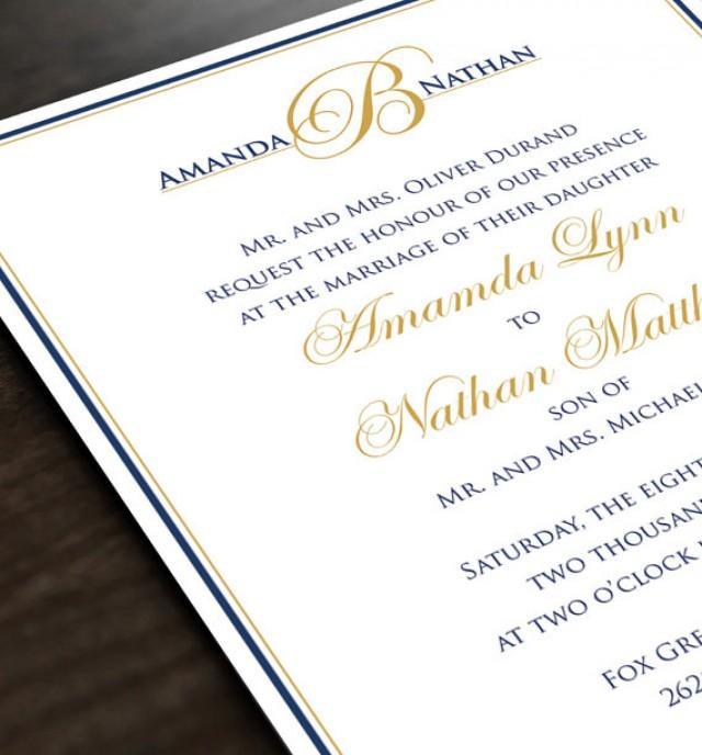 Monogram Wedding Invitation Personalized Wedding Invite And Response Card