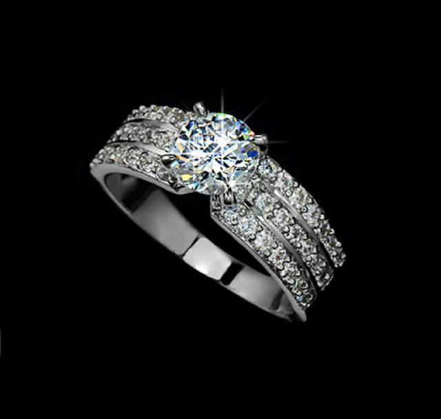 1 25ct cut cubic zirconia 3 row pave engagement ring