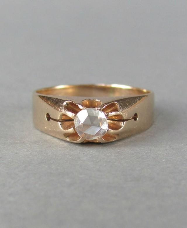 PRETTY Rose Cut Antique Diamond Engagement Ring Wedding Ring Wedding Band Vintage Diamond