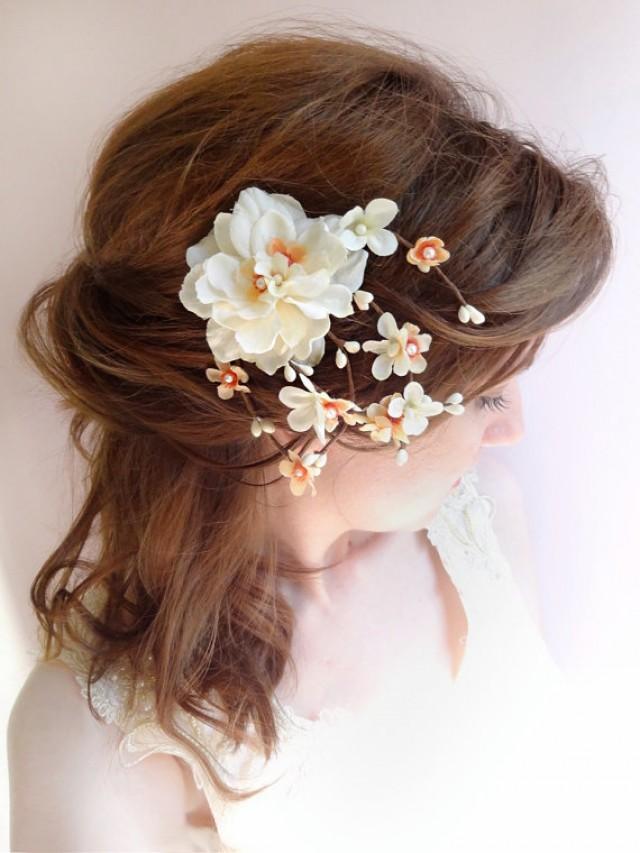 Bridal Ivory Flower Hair Accessories : Peach wedding hair clip bridal flower headpiece ivory