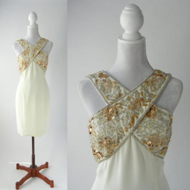 Vintage dress gold vintage dress 1980s cocktail dress for Gold vintage wedding dresses