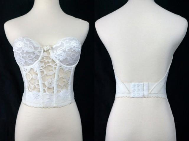 1980s valmont white lace bustier strapless long line bra for Padded strapless bra for wedding dress