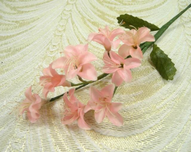 Vintage peachy pink blossom spray nos silk flowers small for Fake flowers for crafts