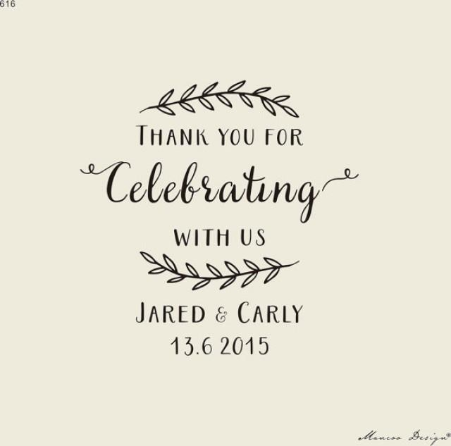 Rustic Stamp-Custom Wedding Calligrapy Stamp - Thank You For ...