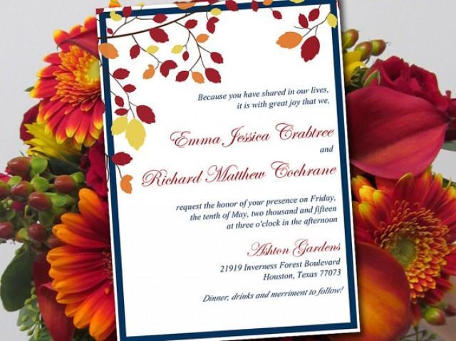 Wedding invitation template quot muskoka quot marine burgundy autumn wedding