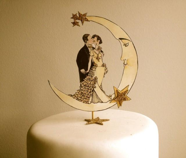 Art Deco Moon Cake Topper : Art Deco Wedding Cake Topper - Deco Moon - Glitter 14 ...