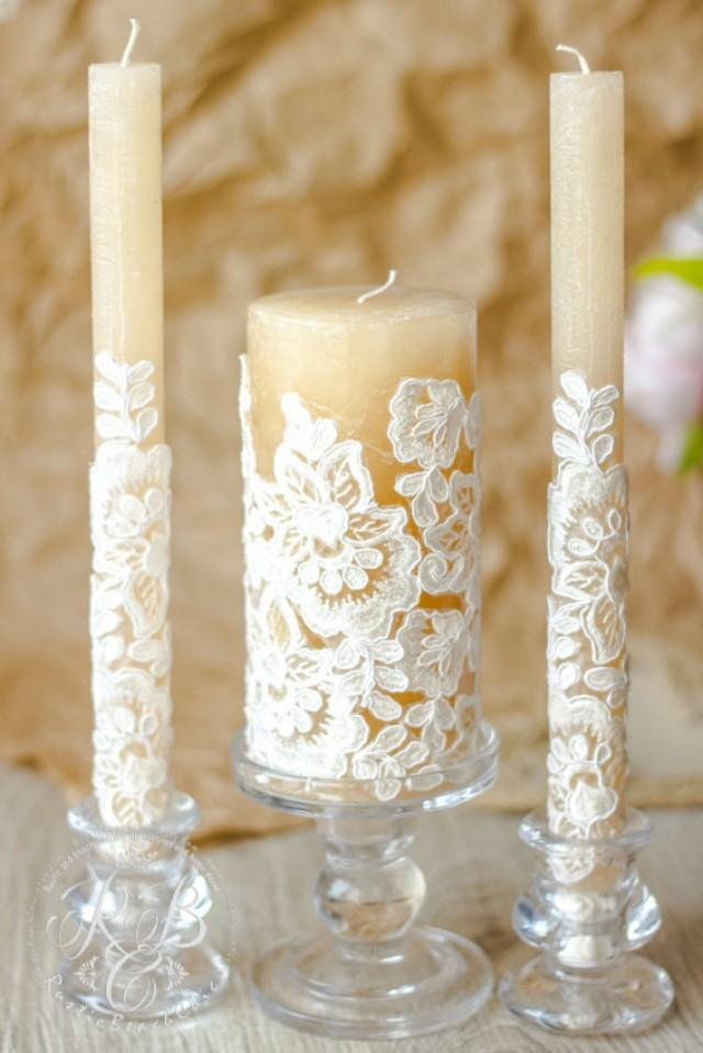 Caramel lace wedding unity candles rustic chic