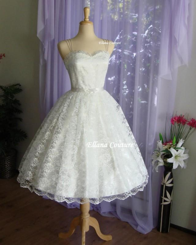 Ready to ship plus size molly retro style wedding for Vintage t length wedding dresses