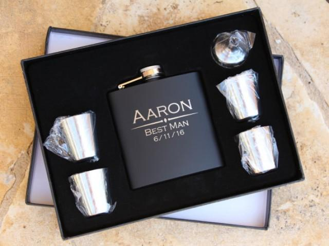 Wedding Gift For Best Man: Groomsmen Flask Gift Set , Personalized Engraved Hip Flask