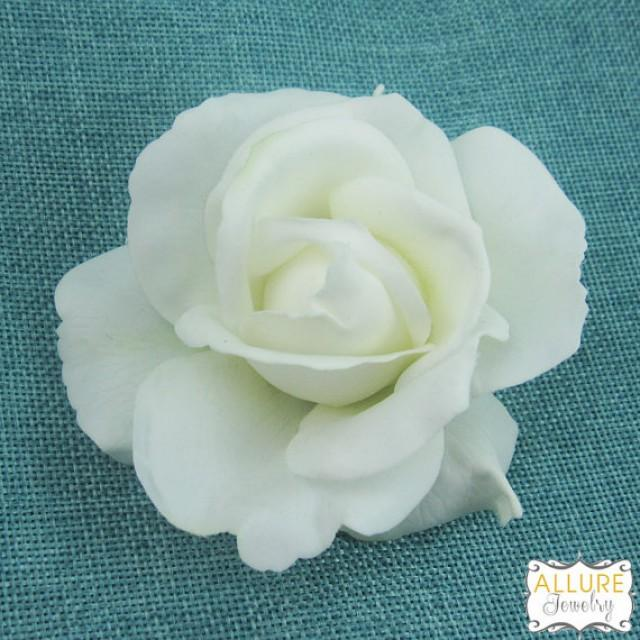 Real Flower Bridal Hair Accessories : Real touch light ivory rose hair flower clip wedding