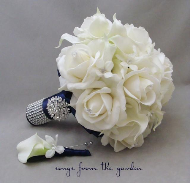 Reserved Navy White Wedding Flower Package Bridal Bouquet