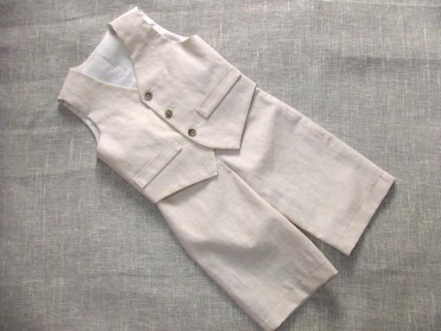 Baby Boy Ring Bearer Outfit Boy Linen Suit Kids First