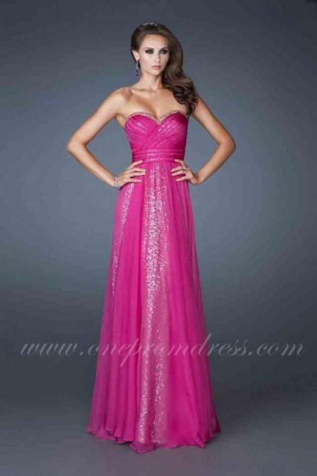 wedding photo - Long Strapless Sequin Prom Dress by La Femme 18869 Magenta