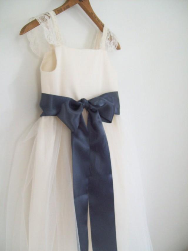 Organic cotton flower girl dress tulle dress for Organic cotton wedding dress