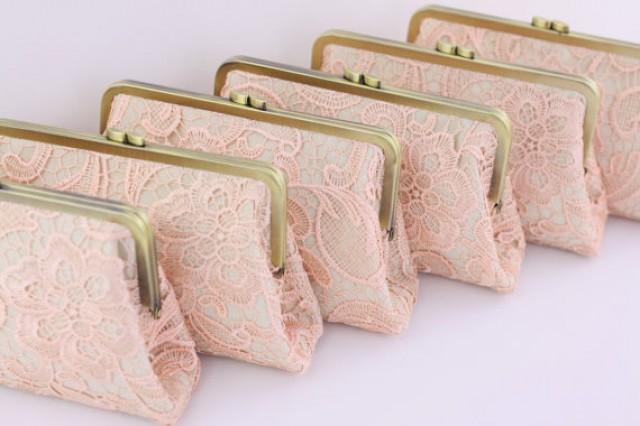 wedding photo - Blush Pink Lace Bridesmaid Clutches / Country Style Lace Wedding Clutches / Wedding Gift / Bridal Clutch Set - Set of 6