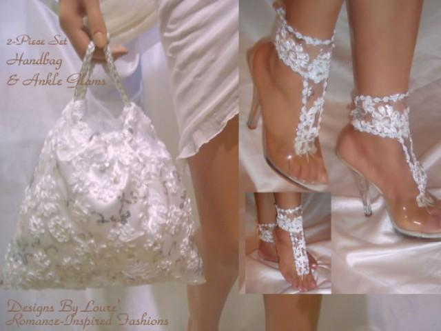 wedding photo - Barefoot Sandal Ankle Glams With Matching Handbag, Bridal Set, Wedding Bag And Sandals, Bride Bag, Ankle Bracelets, Anklets, SALE