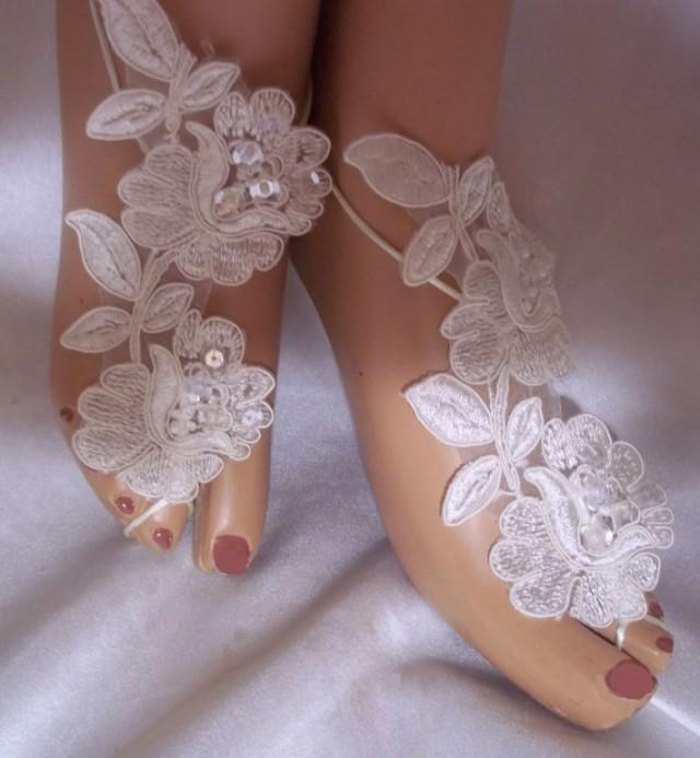 wedding photo - Beautiful Ivory Beaded Sequined Lace Barefoot Sandals, Ivory White Bottomless Sandals, Beach Bride Sandals, Beach Wedding Sandals, Foot Wear