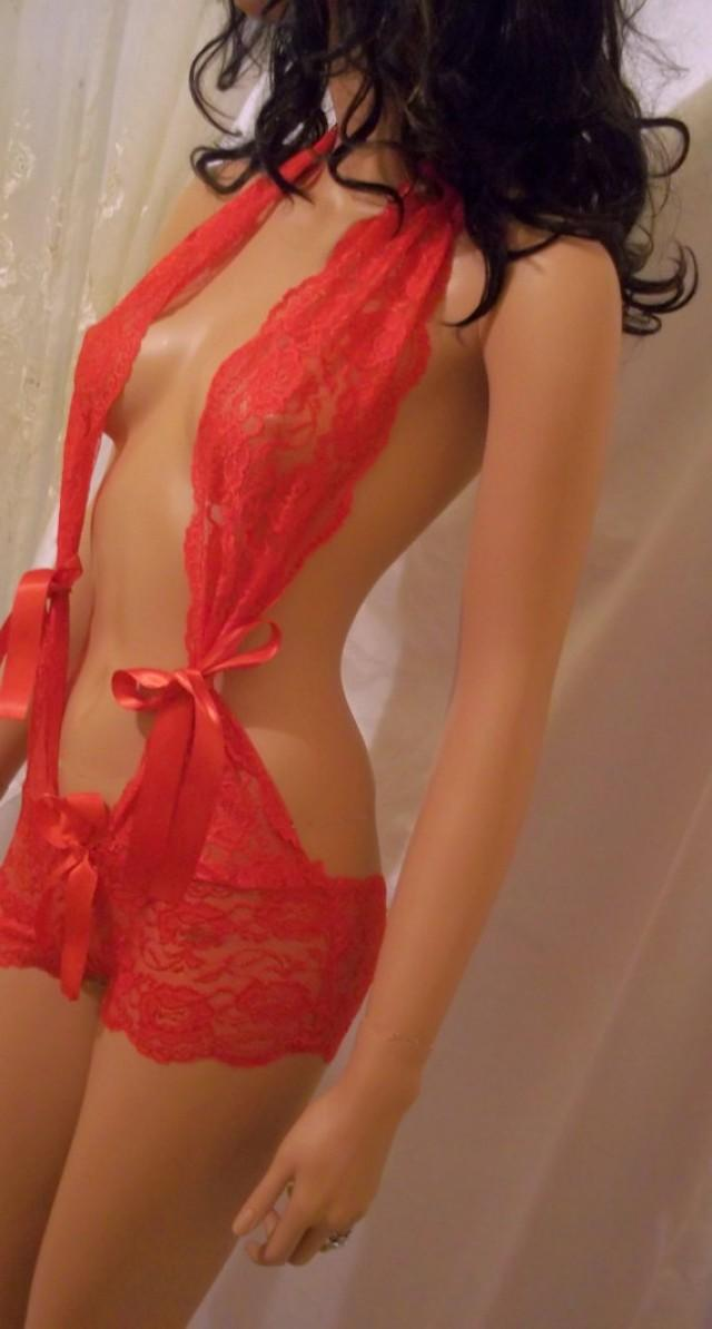 wedding photo - Beautiful Teddy Lingerie, Red Lace Baby Doll, One Piece Lingerie, Sexy Nightie, Sexy Intimate Apparel, Sexy Sleepwear, Sexy Night Wear
