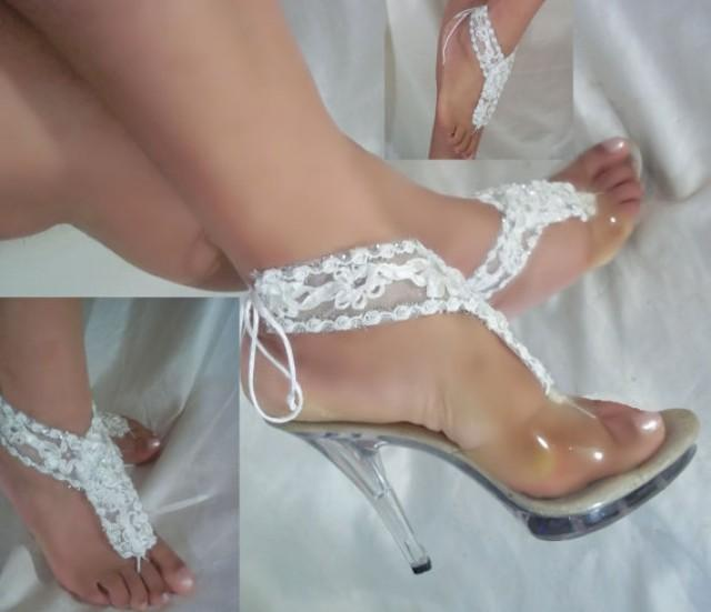 wedding photo - Beautiful White Flowery Barefoot Sandals, Beach Bride Sandals, Bottomless Sandals, White Barefoot Sandals, Bridal Sandals, Wedding Sandals