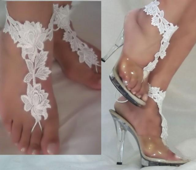 wedding photo - Beautiful White Lace Barefoot Sandals, Bride Beach Sandals, Bottomless Sandals, Beach Wedding Sandals, White Flower Lace Barefoot Sandals
