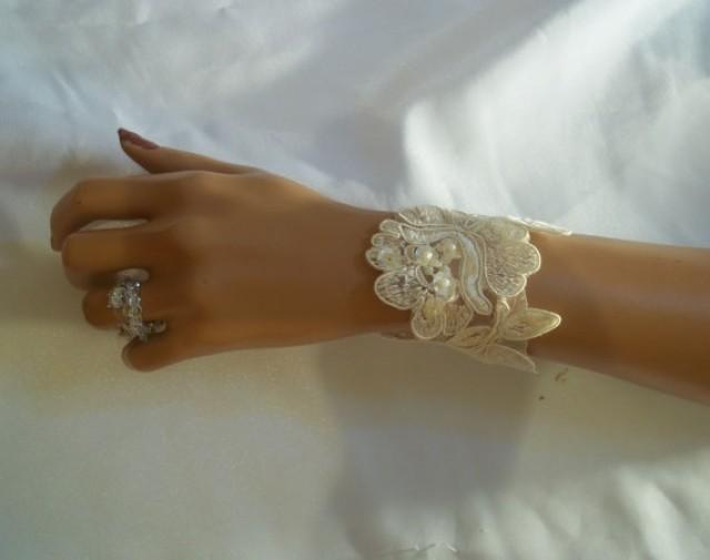 wedding photo - Beautiful Ivory Flower Lace Bracelet, Bridal Bracelet, Bridal Accessory, Bridesmaid Accessory, Lace Sequin Bracelet, Arm Warmer, Wrist Cuff
