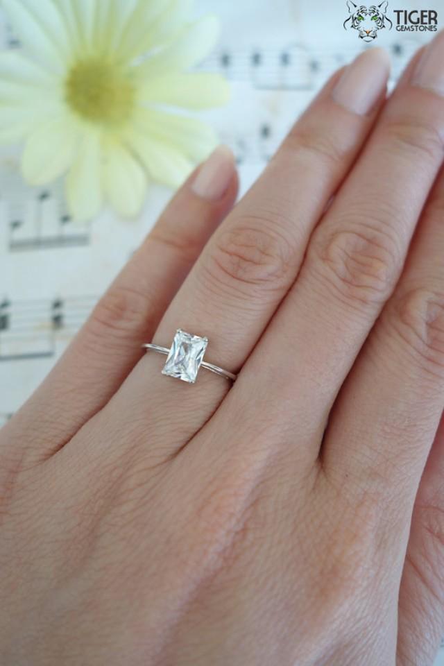 Diamond Solitaire Ring 12 carat RadiantCut 14K White Gold
