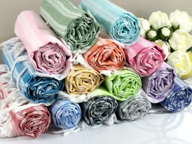 wedding photo - Turkish Peshtemal Towel Fouta Towel Beach Towel Bath Bridesmaid Gift, Wedding Gift  Towel Hammam Towel