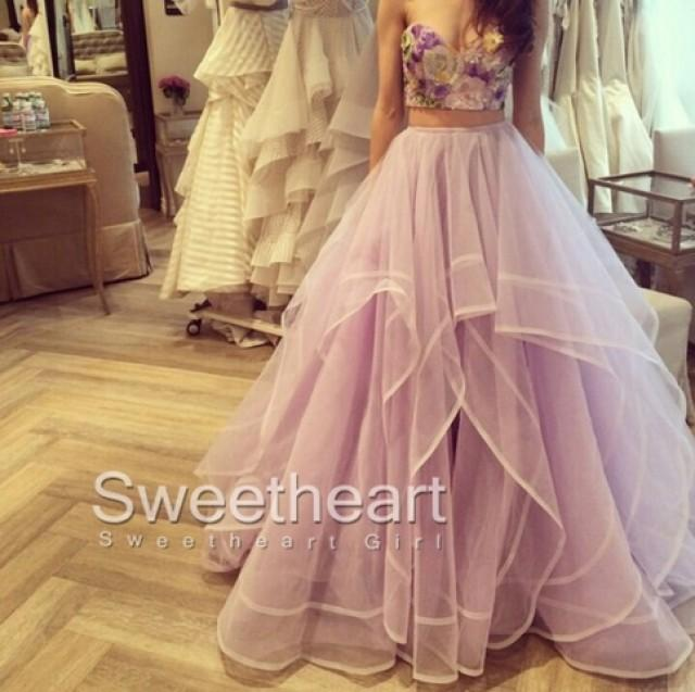 wedding photo - 2 Pieces Ruffled Embroidery Tulle Long Prom Dresses, Formal Dress from Sweetheart Girl