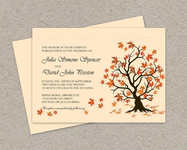 DIY Fall Wedding Invitation Printable Fall Leaves Wedding