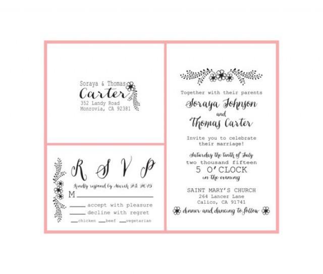 Floral Wedding Invite Set Clear Block DIY Wedding Invitation Stamps Custom Wedding Stamps