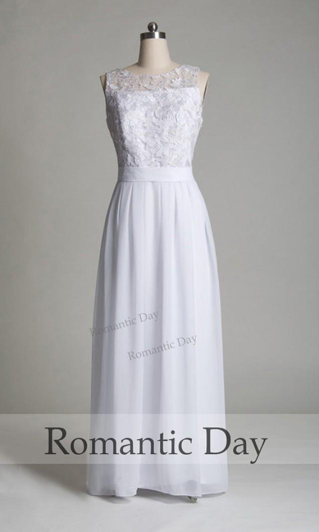 2015 summer white lace illusion neckline a line chiffon for A line illusion neckline wedding dress