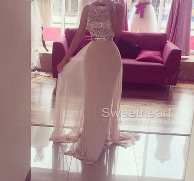 wedding photo - Custom Made White A-line Round Neck Chiffong Long Prom Dress, Formal Dress from Sweetheart Girl