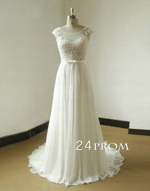 wedding photo - White A-line Round Neck Chiffon Lace Long Prom Dresses, Formal Dresses - 24prom