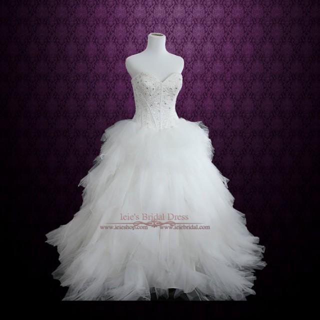 Strapless princess ball gown wedding dress with tulle for Strapless sparkly wedding dresses