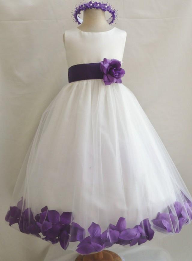 Flower Girl Dresses IVORY With Purple Rose Petal Dress