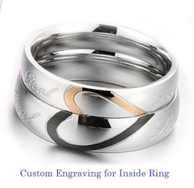 Custom Engraving Heart Shape Stainless Steel 2 Pcs Couples Ring Set