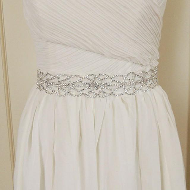 Wedding dress belt sash crystal beaded bridal belt sash for Sparkly belt for wedding dress