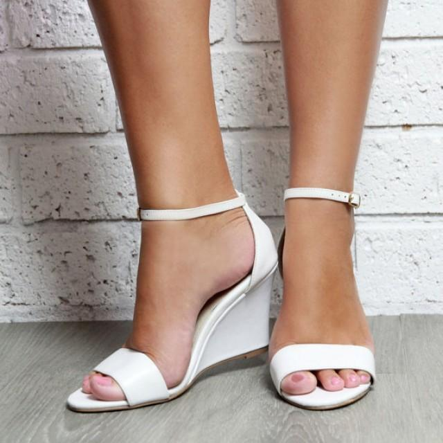 white leather wedge shoes white wedding shoes