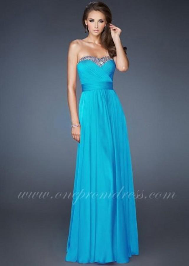 wedding photo - Turquoise Strapless Sweetheart Prom Gown by La Femme 18899
