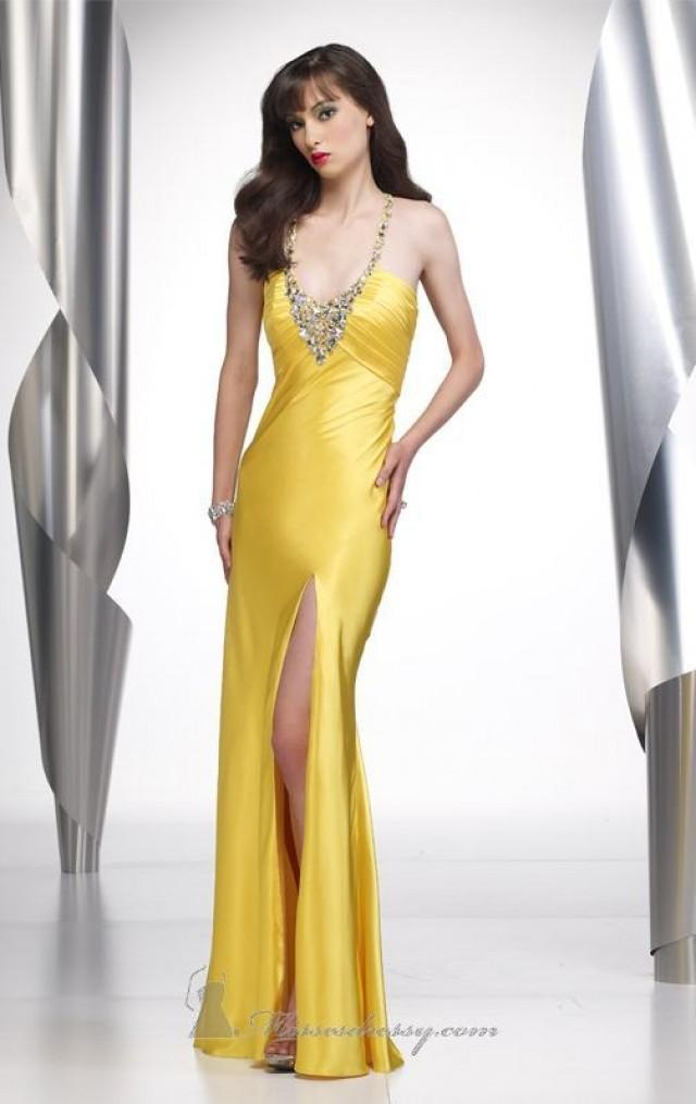 wedding photo - Princess Halter Yellow Front Slit Dress Prom Dress Alyce 6582