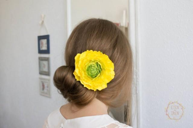 wedding photo - Bridal hairstyles, Yellow Green Flower brooch, Yellow Rose Flower brooch, handmade