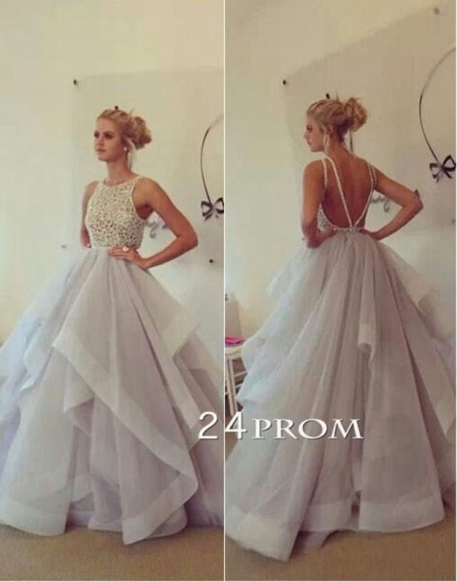 wedding photo - Custom Made Round neckline Tulle Ruffled Long Prom Dress, Formal Dress - 24prom
