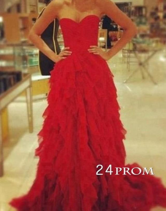 wedding photo - Amazing Red Sweetheart Floor-Length Prom Dress - 24prom