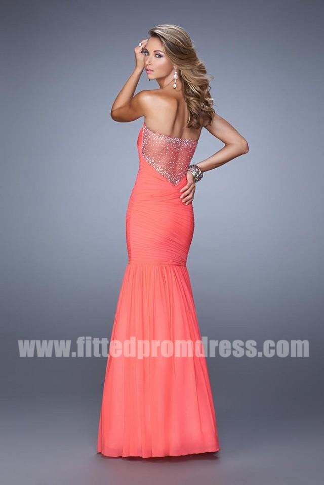 wedding photo - 2015 La Femme 21203 Strapless Pleated Prom Dress with Sheer Back