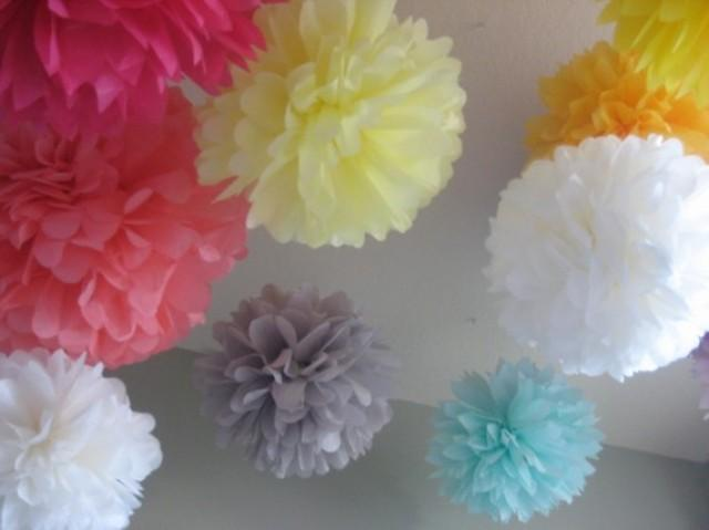 Wedding Reception Decoration Kits : Tissue paper pom poms wedding reception decoration diy kit stylish bride photobooth