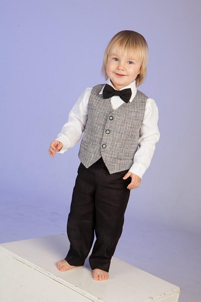 4f7d0f1fda Boy linen suit ring bearer outfit baby boy baptism natural clothes first  birthday SET of 4 rustic wedding beach family photos formal suit