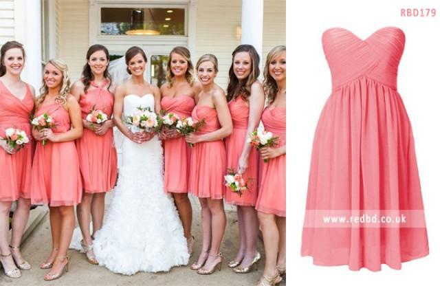 wedding photo - Pink Bridesmaid Dress In RedBD