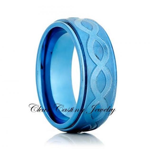 Blue Titanium Wedding BandTitanium Wedding RingBrushed PolishInfinity BandBlue Titanium