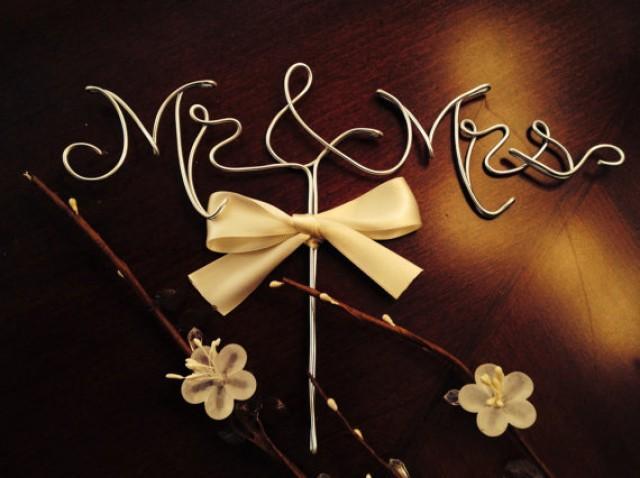 Weddingwire Custom Cake Design : Mr. And Mrs. Wedding Cake Topper, Gold Cake Topper, Cake ...